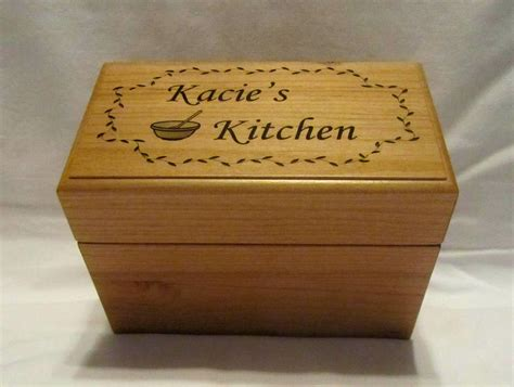 Engraved wooden recipe box Image