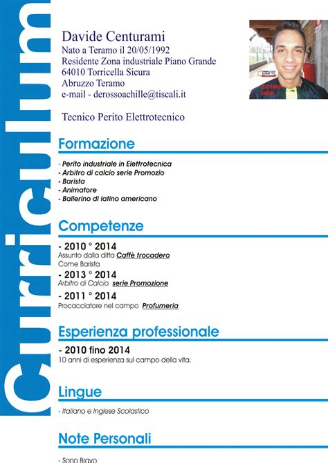 Esempio Cv Europass In Inglese Compilato Checklist Template App