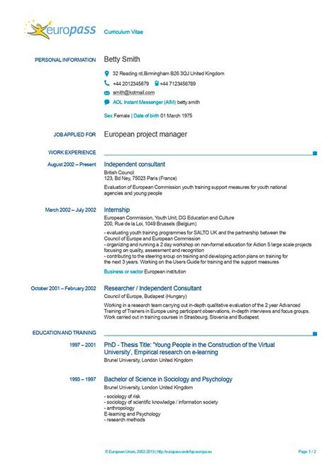 Cv Europass Model Download Free | Music Internship Resume Sample