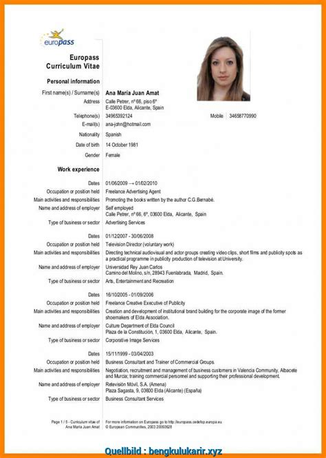 European Cv Model English Word Example Of Resume Tagalog