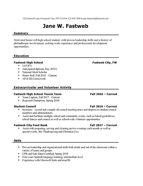 Sample Resumes For High School Students With No Work Experience Cv