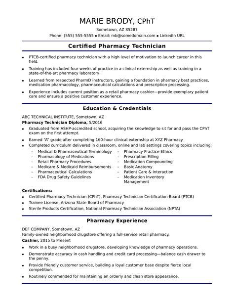 Experienced Pharmacy Technician Resume Sample | Word ...