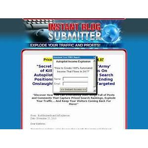 Explode your traffic and profits! instant blog submitter coupon code