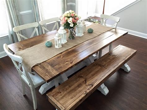Farm table with bench and chairs Image