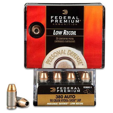 Federal 380 ACP 90gr HydraShok JHP Low Recoil 20 Rounds