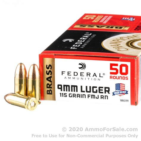Federal 9mm Ammo 50 Rounds