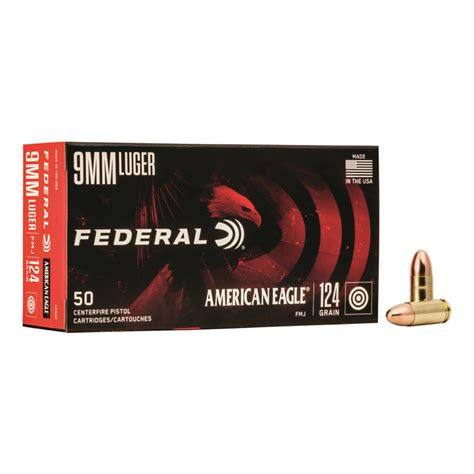 Federal American Eagle 9mm Fmj 124 Grain 50 Rounds