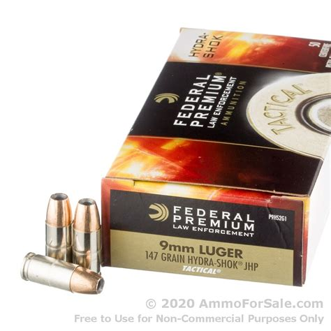 Federal Le 9mm 147gr Hst Jhp P9hst2 Ammo 50 Rounds