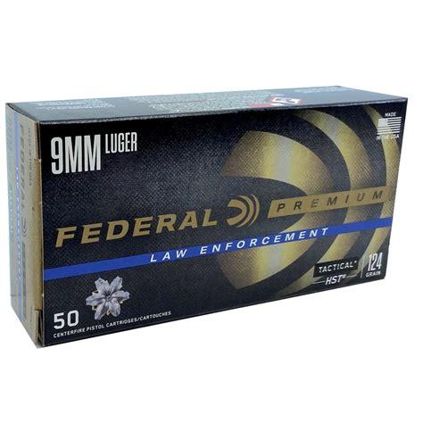 Federal LE 9mm Luger Ammo 124 Grain HST JHP
