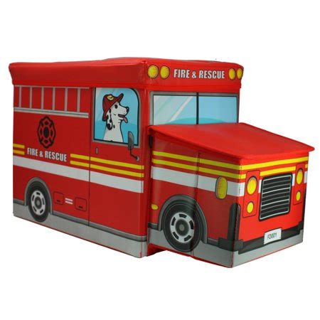 Fire truck toy box and storage bench Image