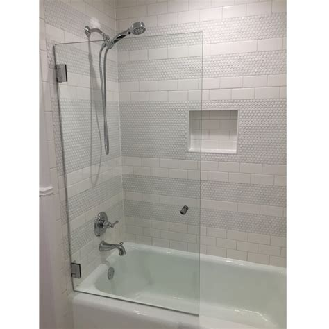 "Fixed 34"" x 58"" Hinged Frameless Glass Panel"