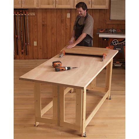 Folding work table woodworking plan Image