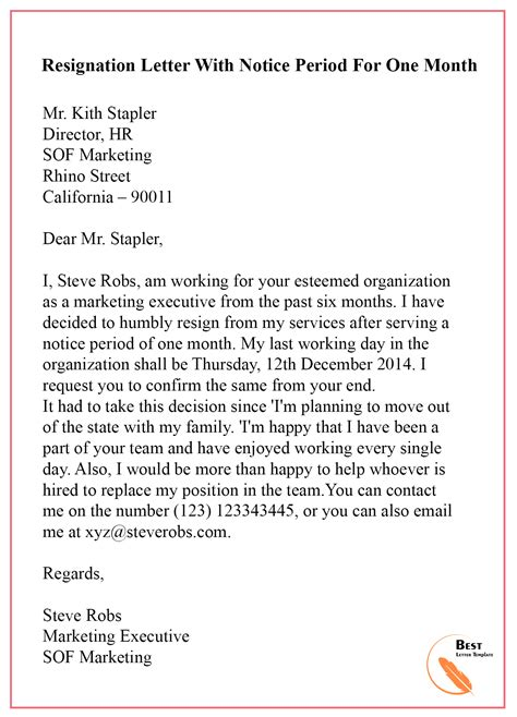 resignation letter templates two weeks notice bsnl cancellation letter