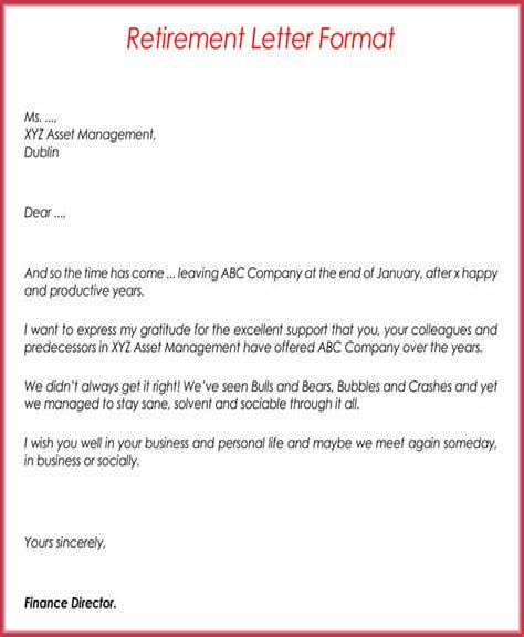 Formal Retirement Letters