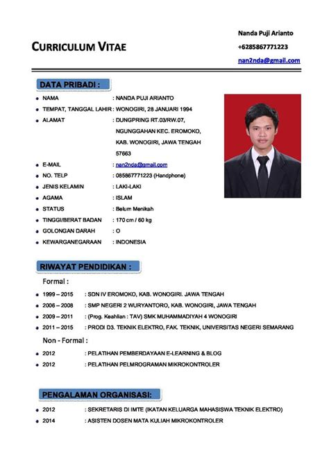 Format Curriculum Vitae Lengkap Letter Of Recommendation For Work