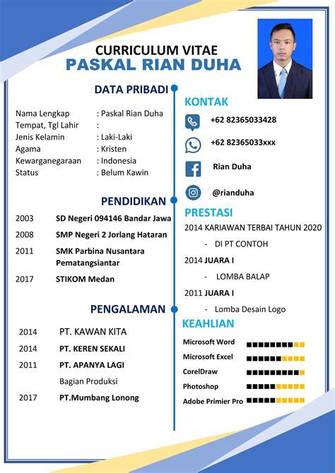 Format Cv Yang Bagus Wicaksono Sample Resume Business