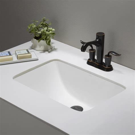 Forum Ceramic Rectangular Undermount Bathroom Sink with Overflow