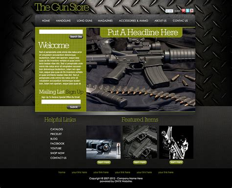 Free Gun Store Website Templates