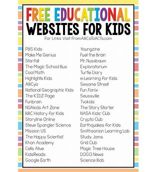 Free Children S Learning Sites Online