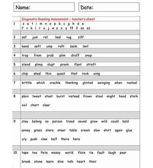 Free Printable Reading Level Assessment Test