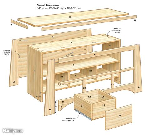 Free tv console woodworking plans Image