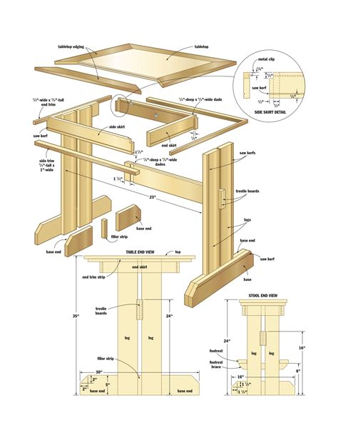 Free woodworking plans kitchen table Image
