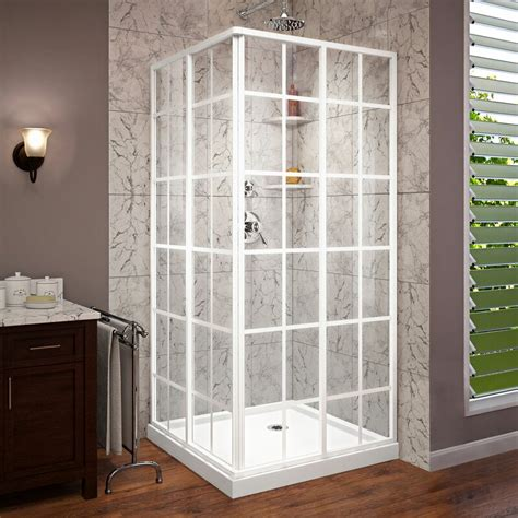 "French Corner 36"" x 74.75"" Square Sliding Shower Enclosure with Base Included"