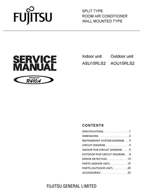 fujitsu asu15rls2 parts pdf manual