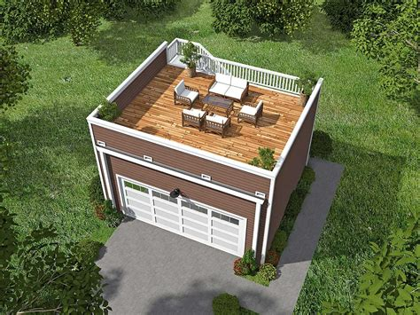 Garage plans with deck on top Image