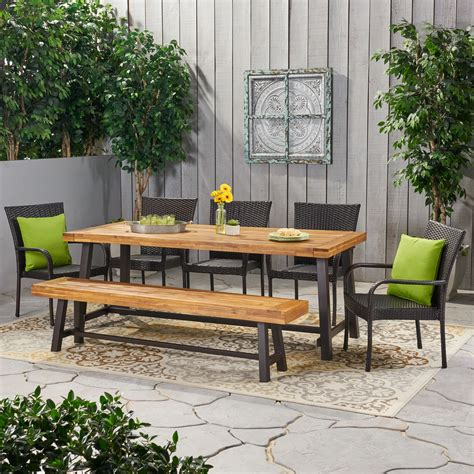 Garden table bench set Image