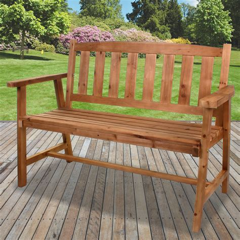 Garden wooden bench seat Image