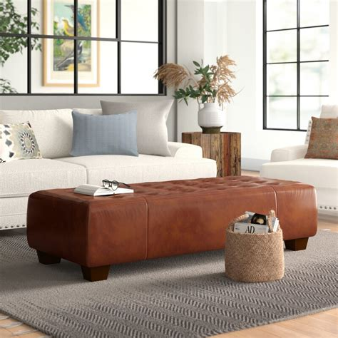 Gendron Leather Cocktail Ottoman