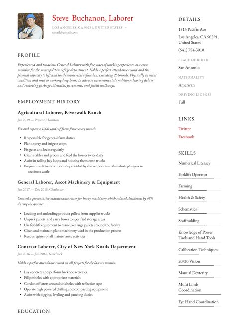 Resume Templates General Labor