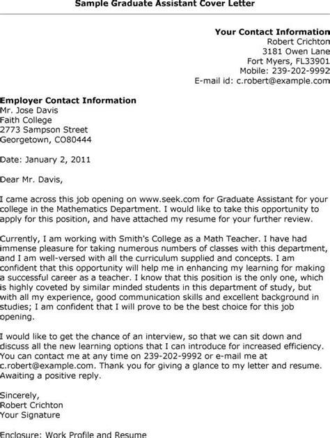 Graduate Assistant Resume Cover Letter | Recommendation ...