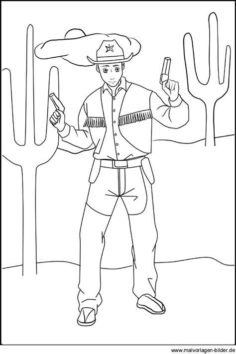Gratis Malvorlagen Cowboy