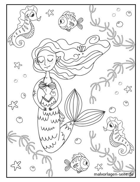 Gratis Malvorlagen Meerjungfrau