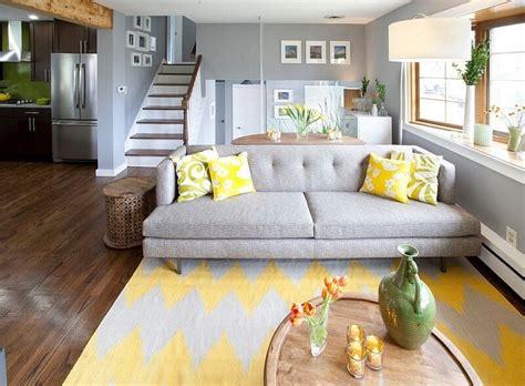 Gray And Yellow Living Room