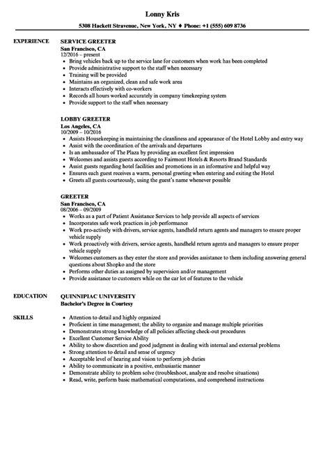Greeter Job Description For Resume Cover Letter Examples
