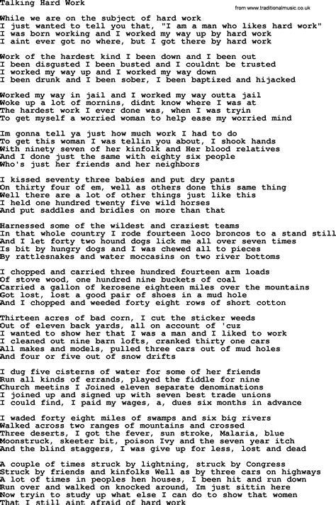 Hard work song lyrics Image
