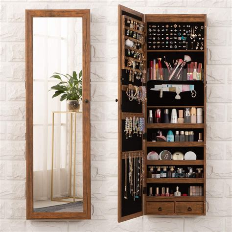Harlesden Wall Mounted Jewelry Armoire with Mirror