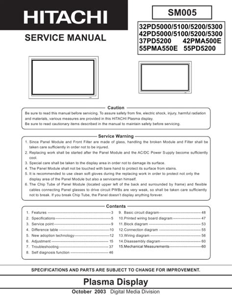hitachi 42pd5000 service manual pdf manual