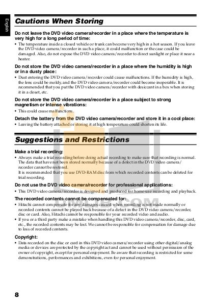 hitachi dz-gx5020a pdf manual