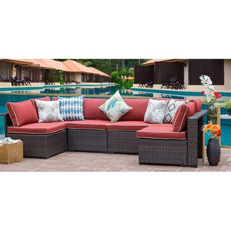 Holliston 6 Piece Rattan Sectional Set with Cushions