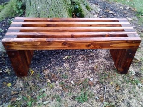 Homemade wooden benches Image
