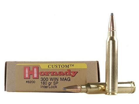 Hornady Custom Ammo 300 Winchester Mag 180 Grain InterLock