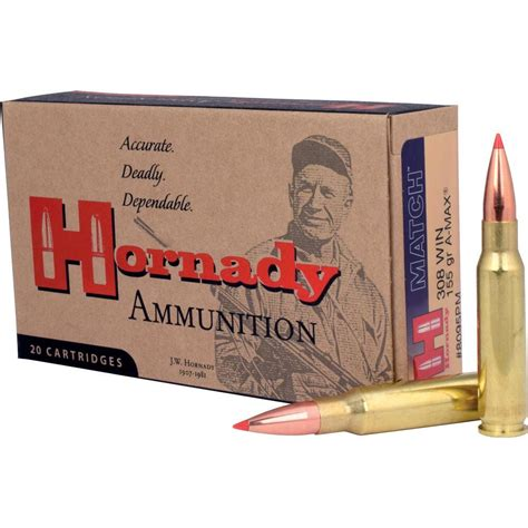 Hornady Match 308 Win 155gr A-Max - Rareammo Com