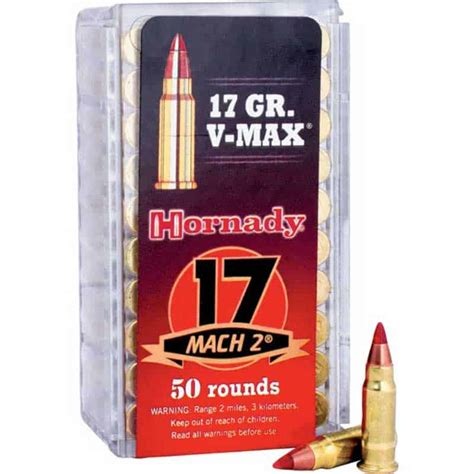 Hornady Vmax Ammo 17 Mach 2 17gr Vmax 17 Mach 2 17gr Vmax 50box