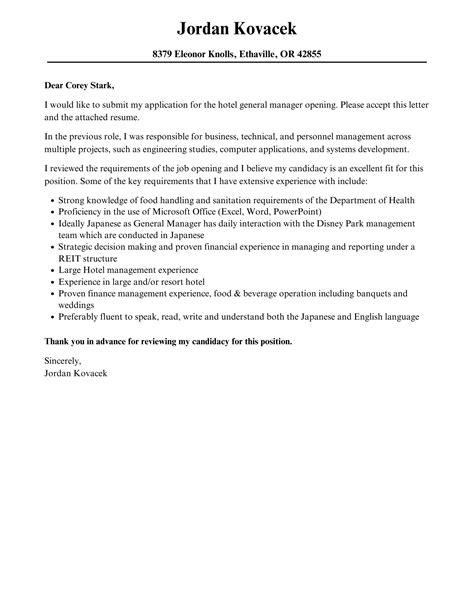 Resume Cover Letter Hotel General Manager Sample O Resumebaking