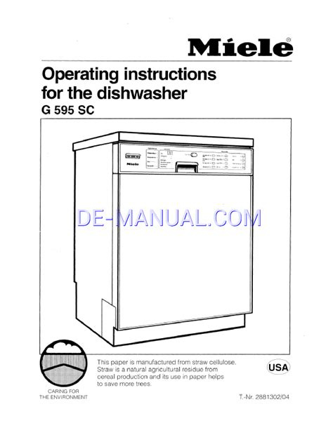 how to clean miele dishwasher pdf manual