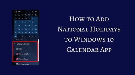 Holiday Calendar Windows 10 | Desktop Calendar Software For Windows 7